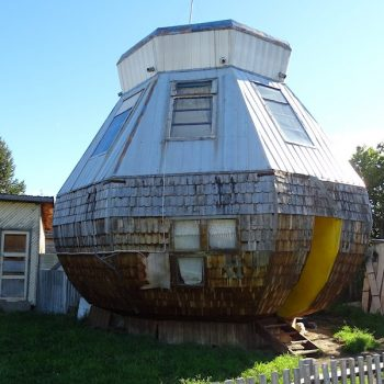 A house shaped like a cup of mate, found in Cochrane, Chile.