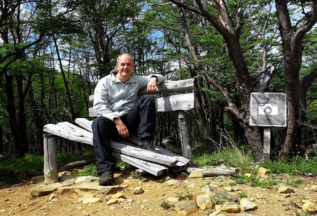 Bjørn. Free. On a bench at a scenic spot on the way up to Cerro Castillo.