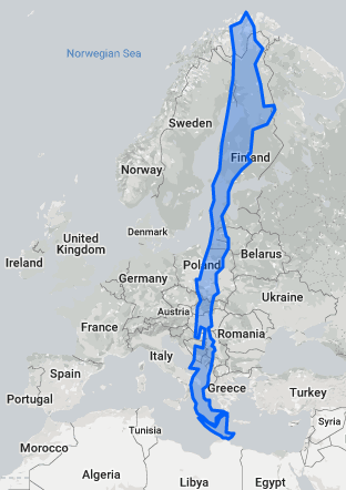 Chile relocated to Europe would stretch from North Cape to Libya.