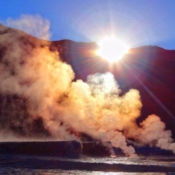 El Tatio geysers at sunrise.