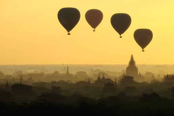 Balloons at sunrise above Bagan.