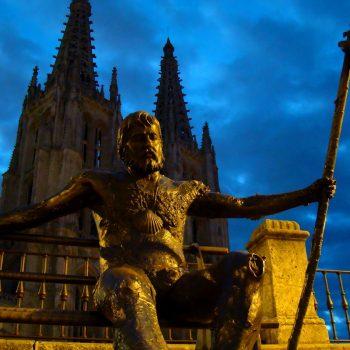 Full metal pilgrim outside Burgos Cathedral.