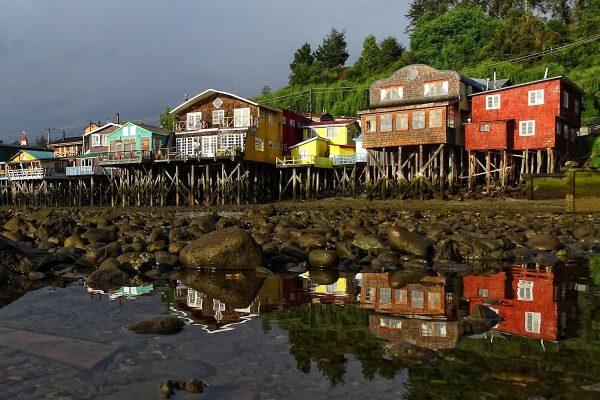 Palafito houses in Castro, Chiloe.