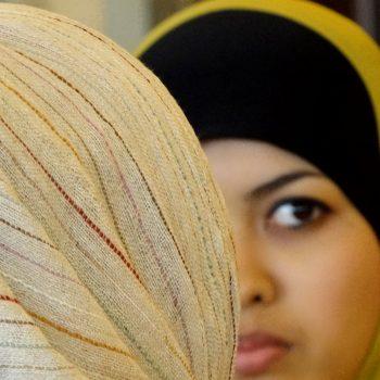 Muslim girls talking.