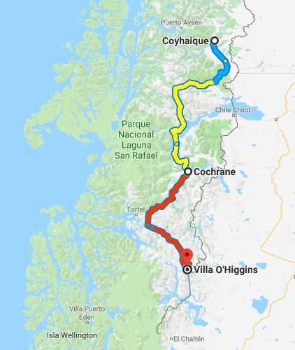Southern part of Carretera Austral. The blue section is paved road, the yellow and red sections are gravel. My journey covers the blue and yellow parts.