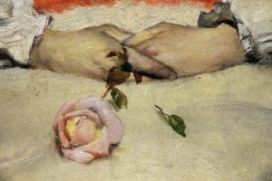 "Rose detail from ""Syk pike"" by Christian Krogh."