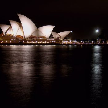 The Sydney Opera House on a quiet night in January.