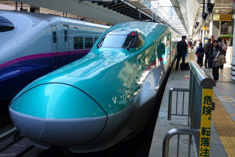 Duckbill-shaped bullet train (Shinkansen) at Tokyo station.