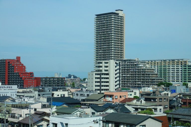 City view of Sendai on Honshu, Japan, seen from the train.