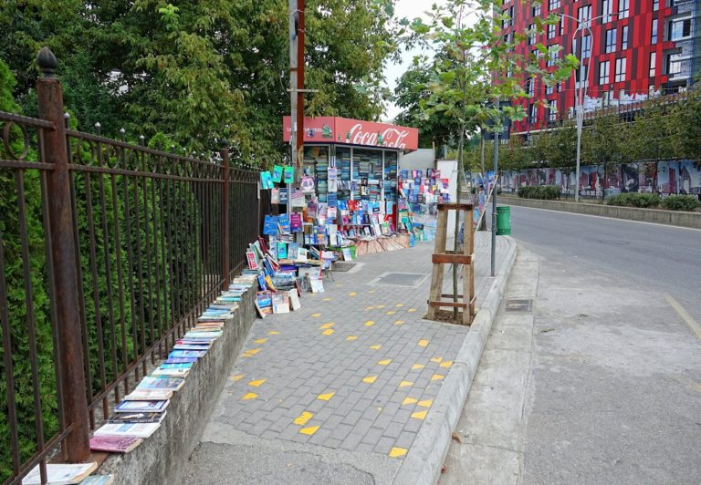 A pop-up bookstore in the streets of Tirana, Albania.