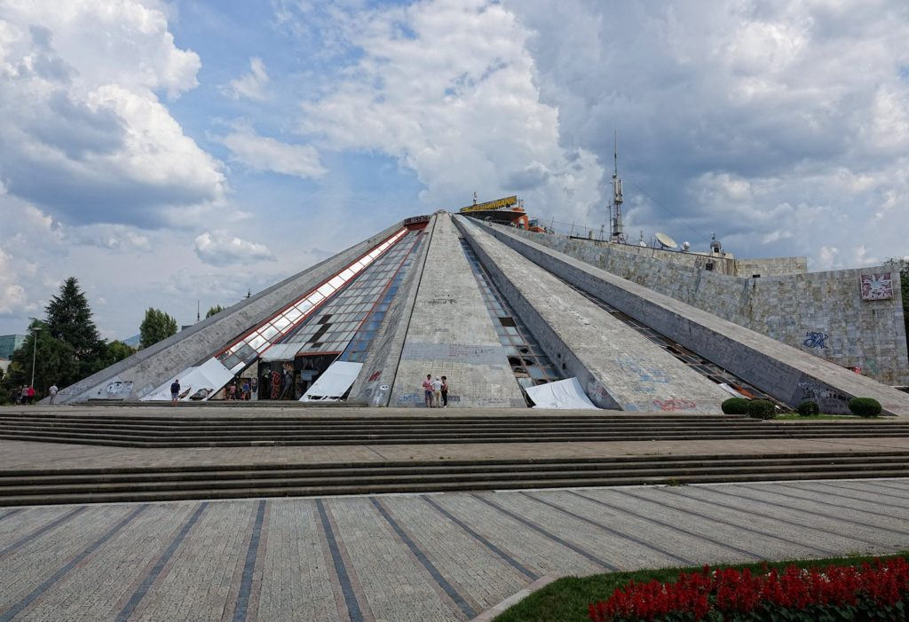 A frontal view of the Pyramid of Tirana.