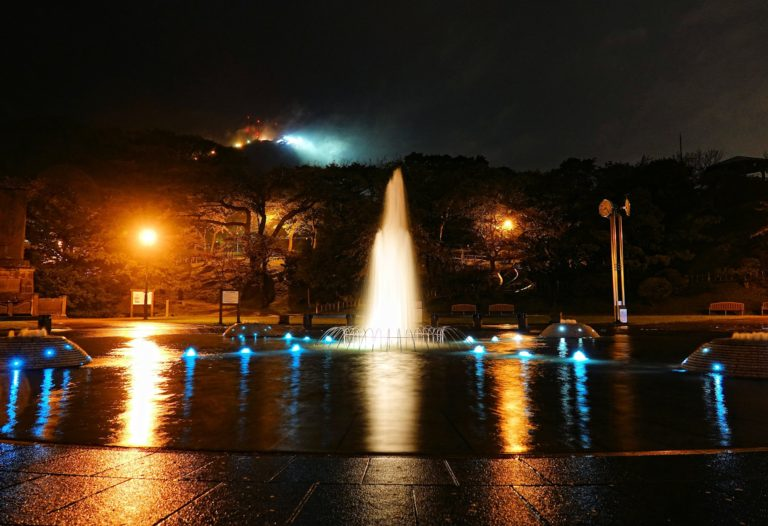 Hakodate Park by night during rain.