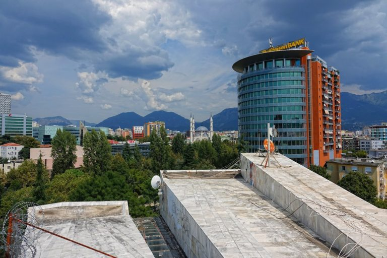 View from the top of the Pyramid of Tirana.