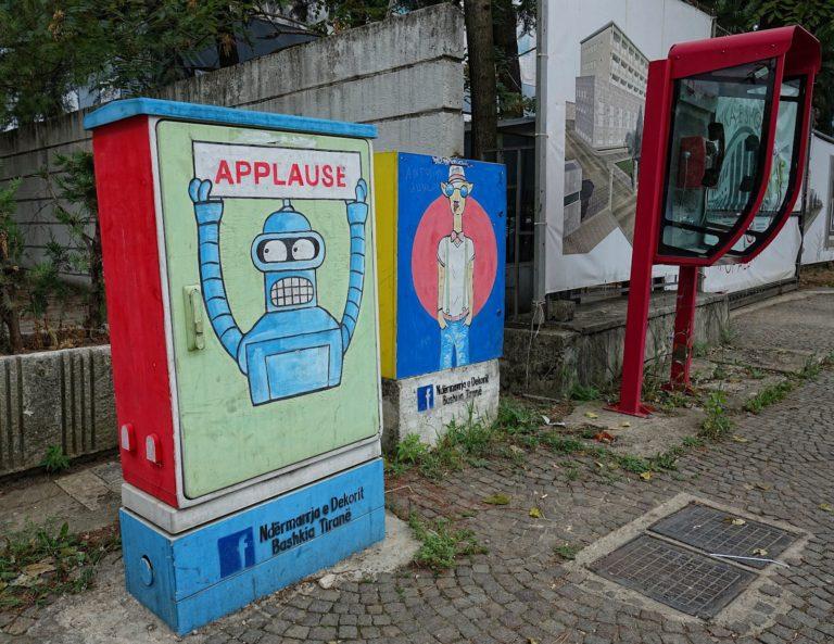 Graffiti on electrical boxes in Tirana, Albania.