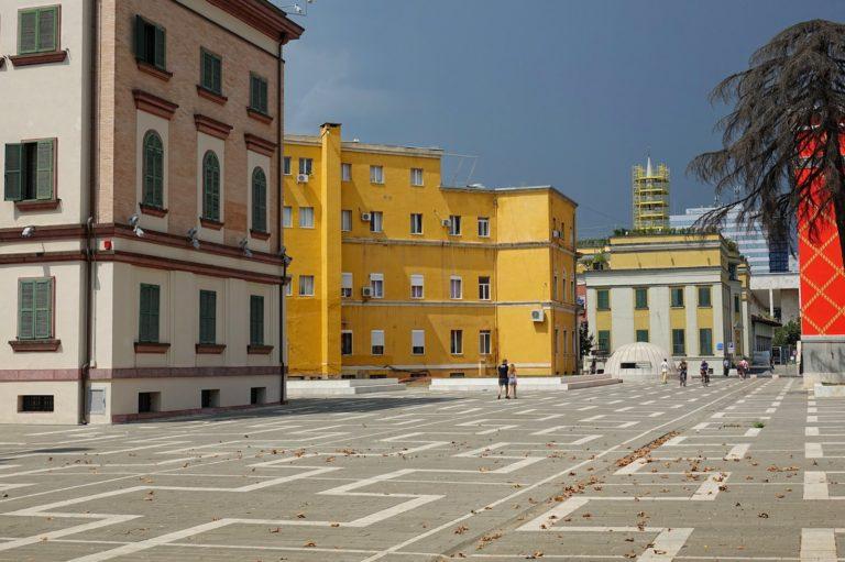 Pedestrian street outside the National Theatre in Tirana, Albania.