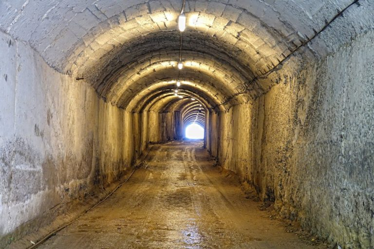 Tunnel leading into the Bunk'Art museum in Tirana, Albania.