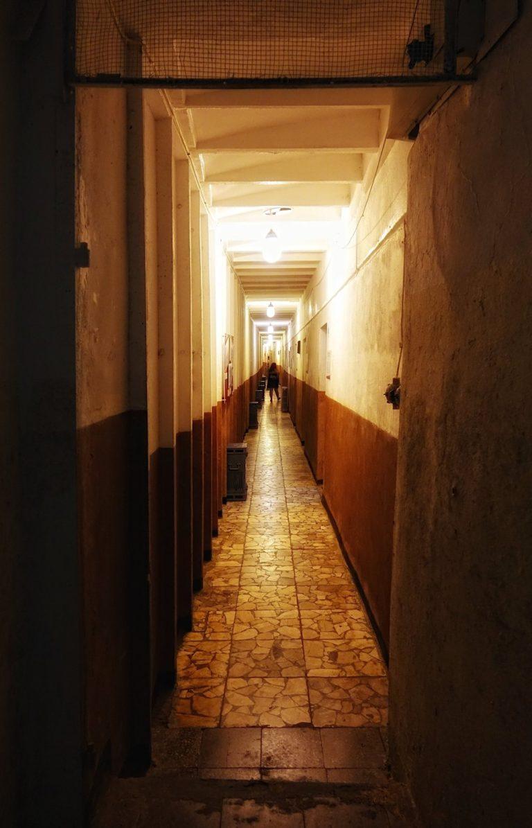 Long corridor at the Bunk'Art museum in Tirana, Albania.