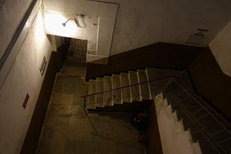 Ominous stairway at the Bunk'Art museum in Tirana, Albania.