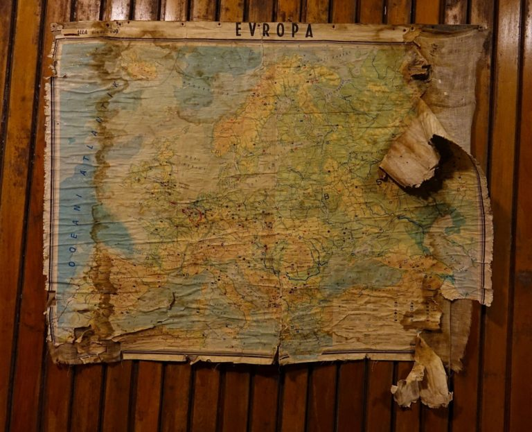 Moldy map at the Bunk'Art museum in Tirana, Albania.
