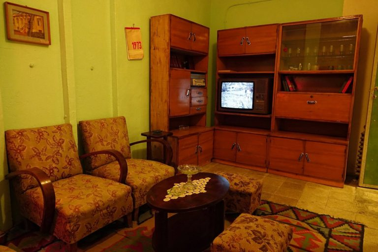 1973 living room at Bunk'Art museum in Tirana, Albania.