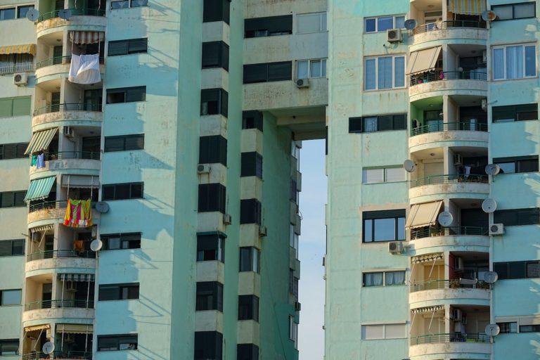 Communist era apartment complex in Durrës, Albania.