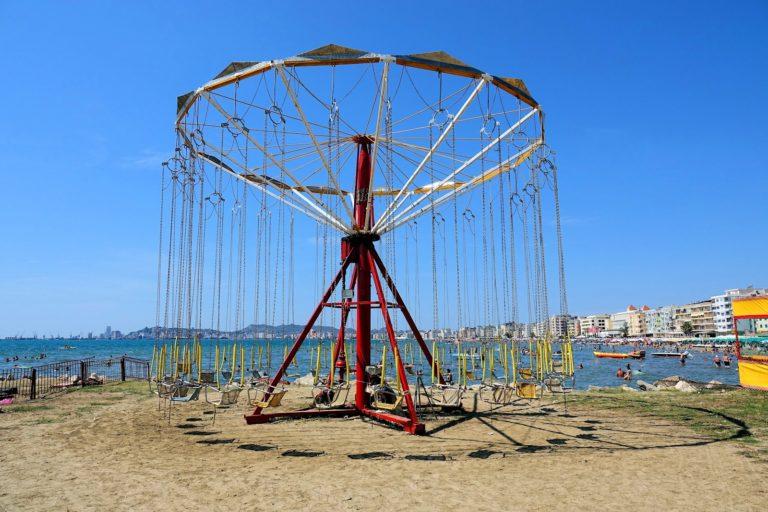 A carousel on Golem beach, Dürres, Albania.