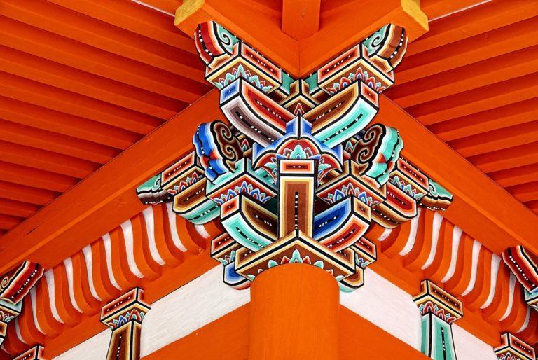 Colourful details at pagoda near Kyomizu-dera.