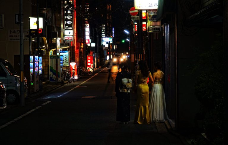 Hostesses in Gion back alley in Kyoto, Japan.
