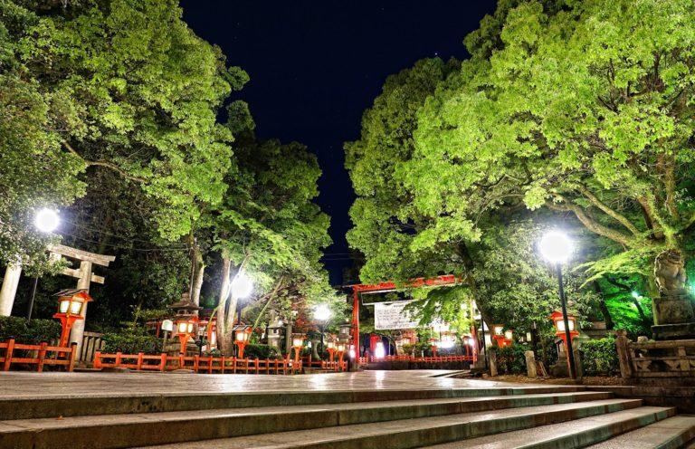 Eki shrine at night in Kyoto, Japan.