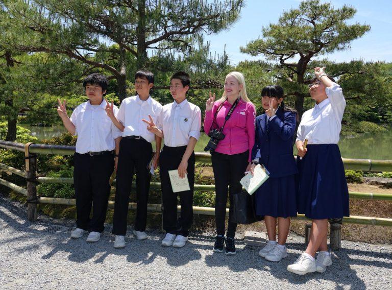 English students at Kinkaku-ji Golden Pagoda in Kyoto, Japan.