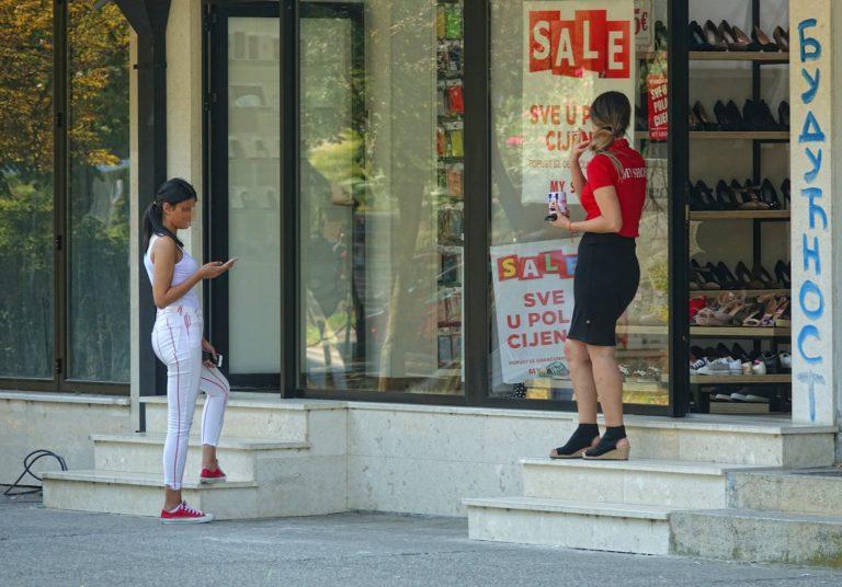Shop girls in Podgorica, Montenegro.