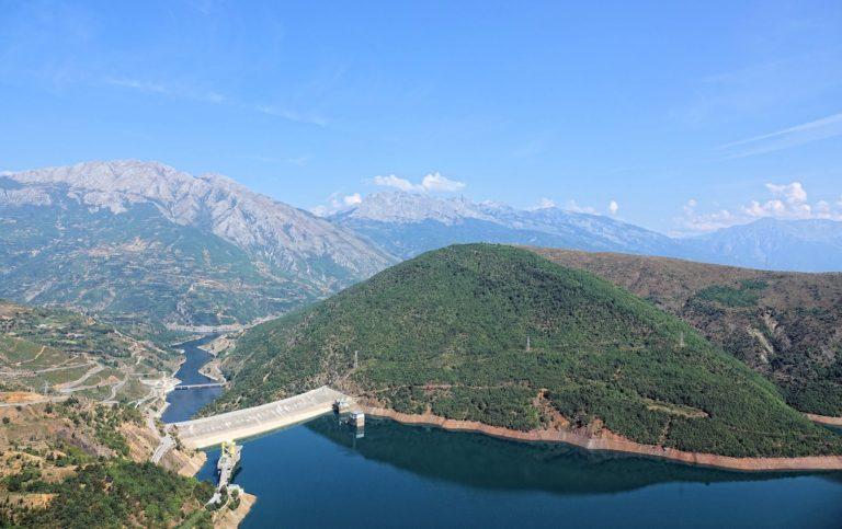The dam near Valbonë, above the ferry terminal.