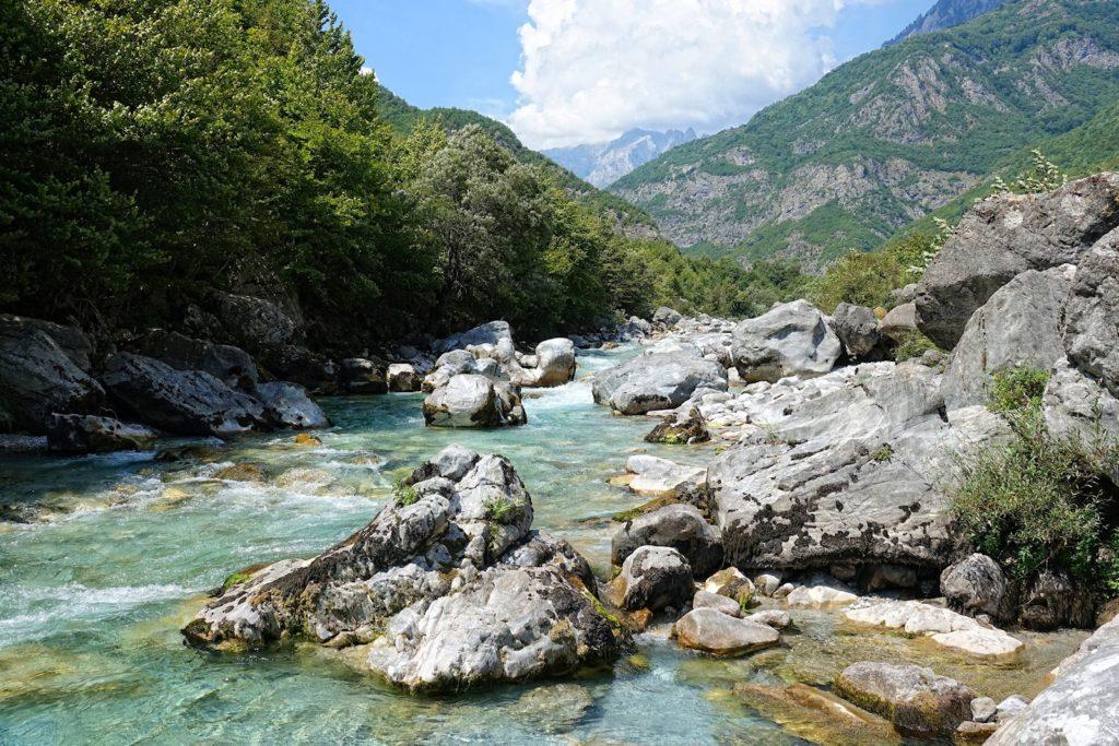 Crystal clear stream running through Valbonë Valley.