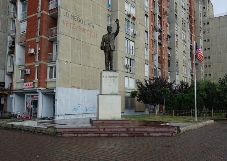 The Bill Clinton statue in Prishtina, Kosovo.