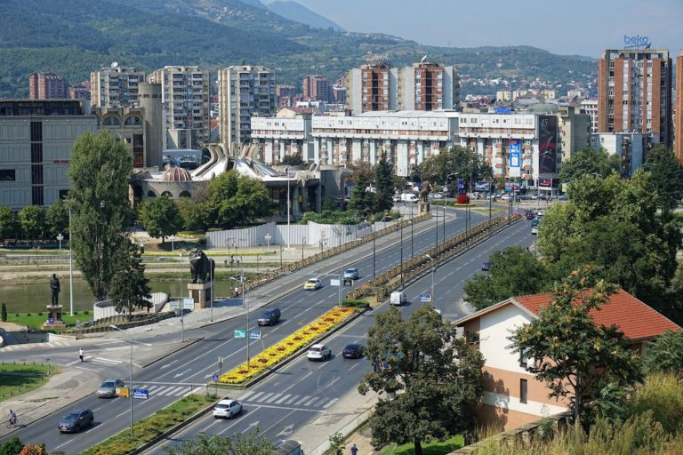 Modern part of Skopje, Macedonia.