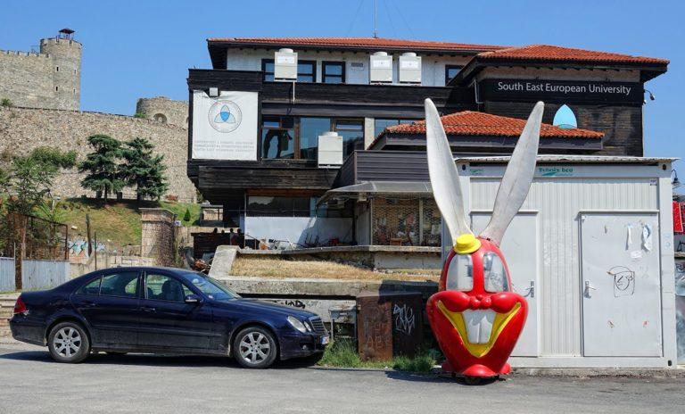 Interesting street scene in Skopje, Macedonia.