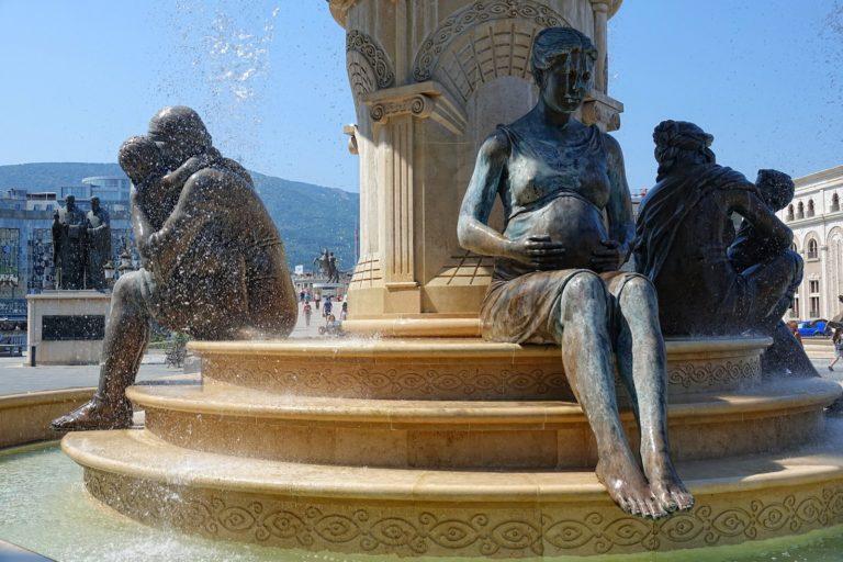 Pregnant metal cast statue in Skopje, Macedonia.
