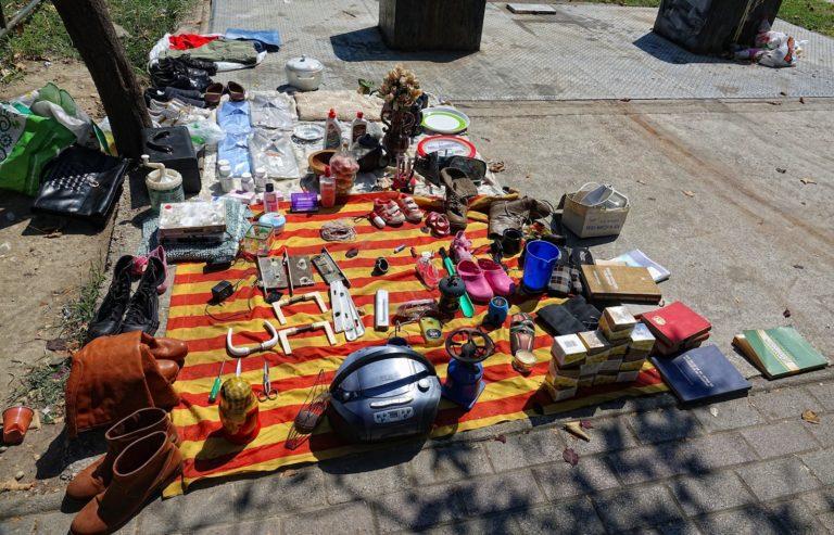 Random items for sale on the street in Skopje, Macedonia.