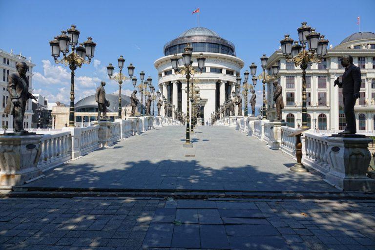 The Art Bridge in Skopje, Macedonia.