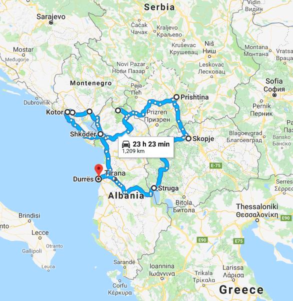 Route followed on Kjersti and Bjørn's epic Balkan expedition in 2018.