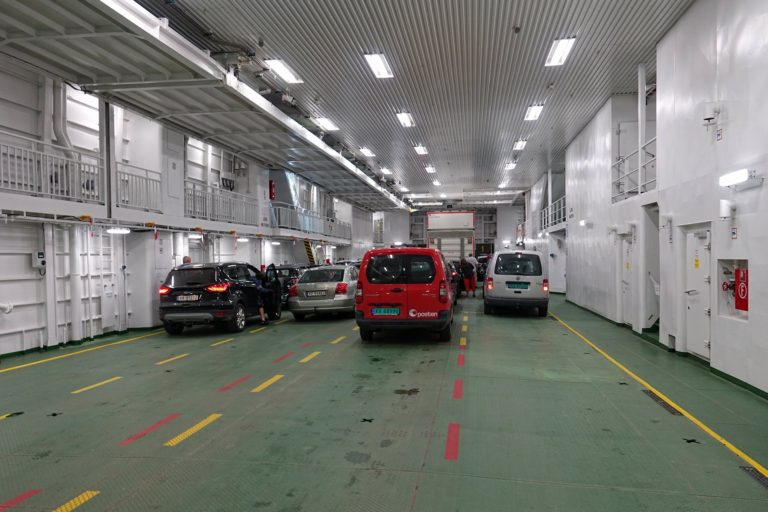 The car deck on a Helgeland ferry.