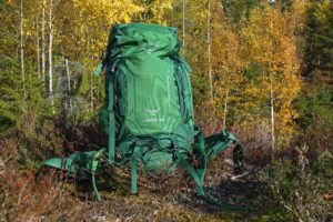 Backpack in a forest.