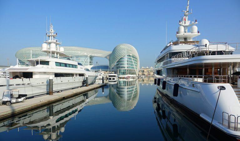 Luxury yachts docked at the Yas Island Marina.