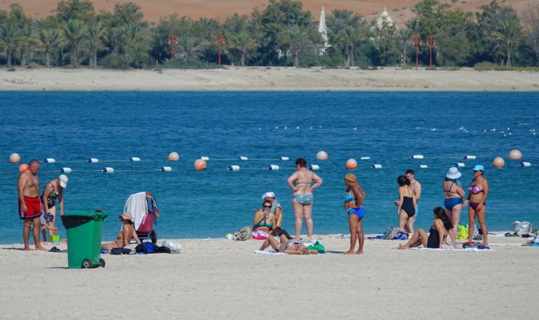 Russian tourists on a beach in Abu Dhabi.