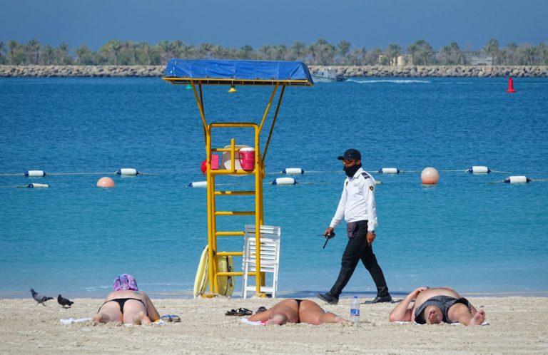 Police patroling the beach in Abu Dhabi.