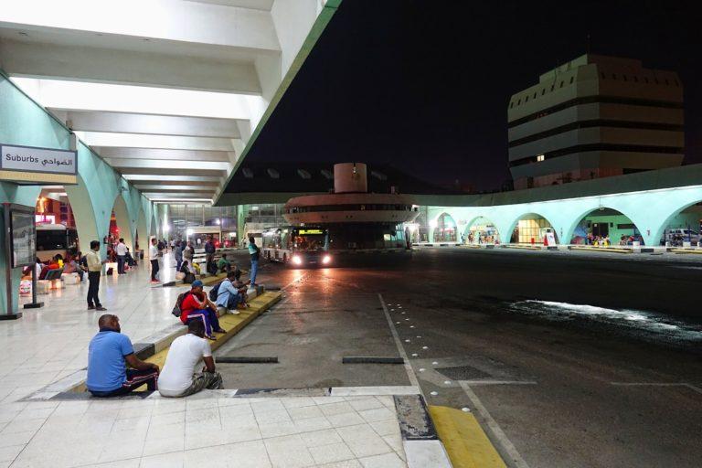 The Abu Dhabi Bus Terminal at night.