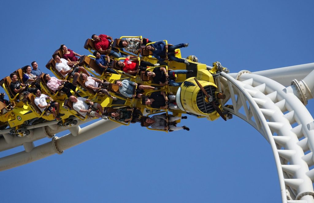 People screaming at the Flying Aces rollercoaster at Ferrari World Abu Dhabi.
