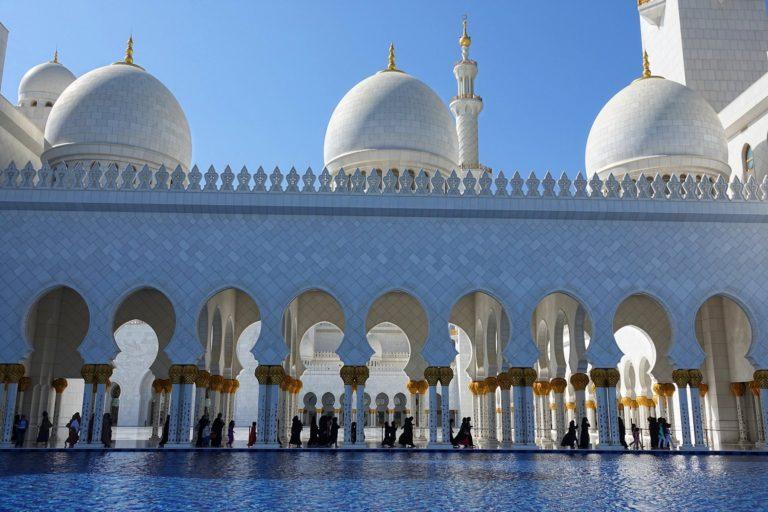 Women walking towards their praying hall at Sheikh Zayed Mosque in Abu Dhabi.