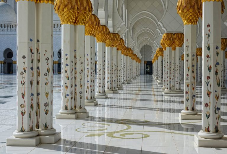 One of the Taj Mahal style archways at Sheikh Zayed Mosque.