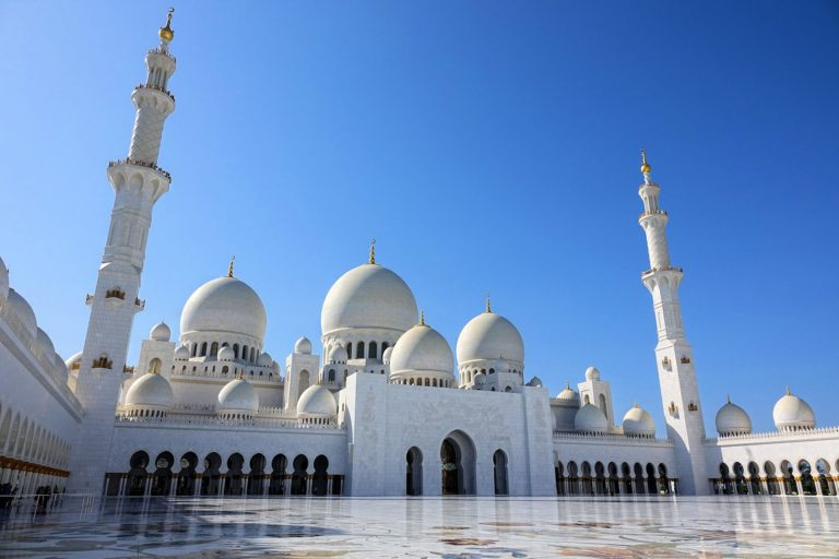 The courtyard at Sheikh Zayed Mosque in Abu Dhabi.
